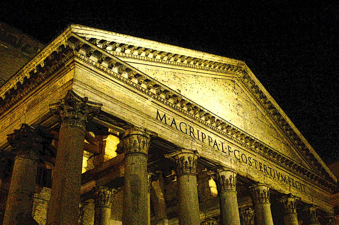 pantheon night rome italy, photo