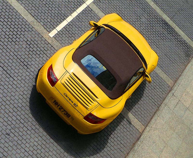 hong kong china porsche carrera 4S cabriolet courtyard, photo