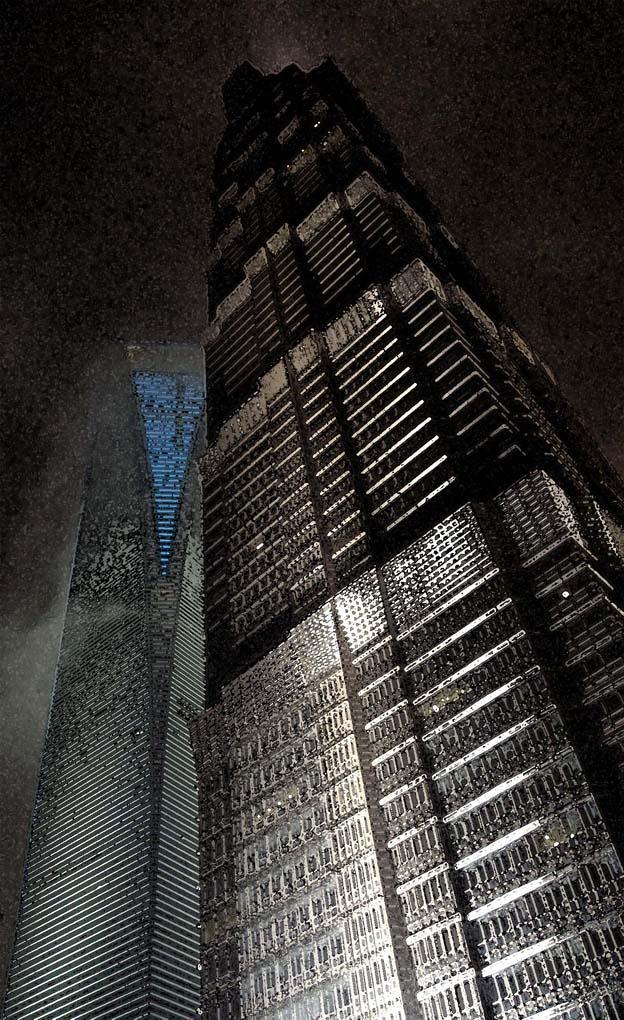 rain rainstorm towers jin mao world financial center shanghai china, photo